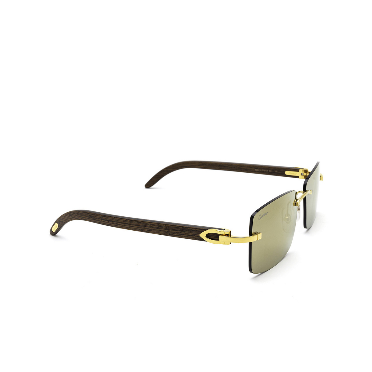Cartier® Rectangle Sunglasses: CT0012RS color Gold 001 - three-quarters view.