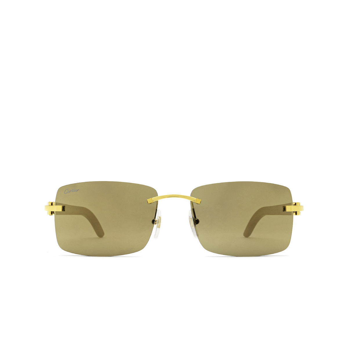 Cartier® Rectangle Sunglasses: CT0012RS color Gold 001 - front view.