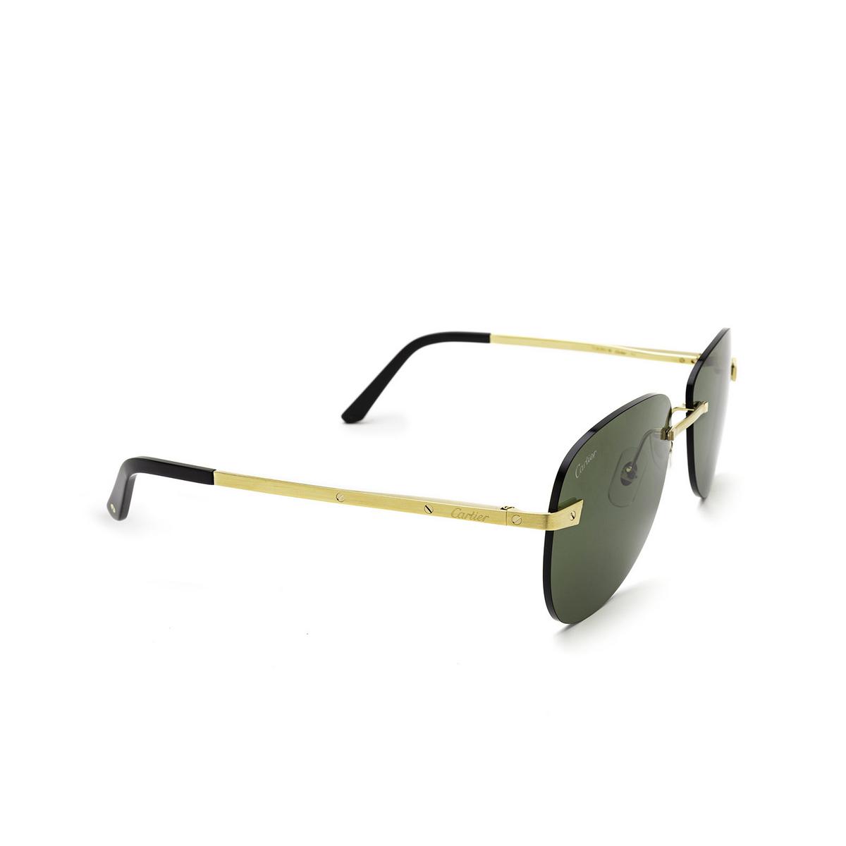 Cartier® Irregular Sunglasses: CT0035RS color Gold 002 - three-quarters view.