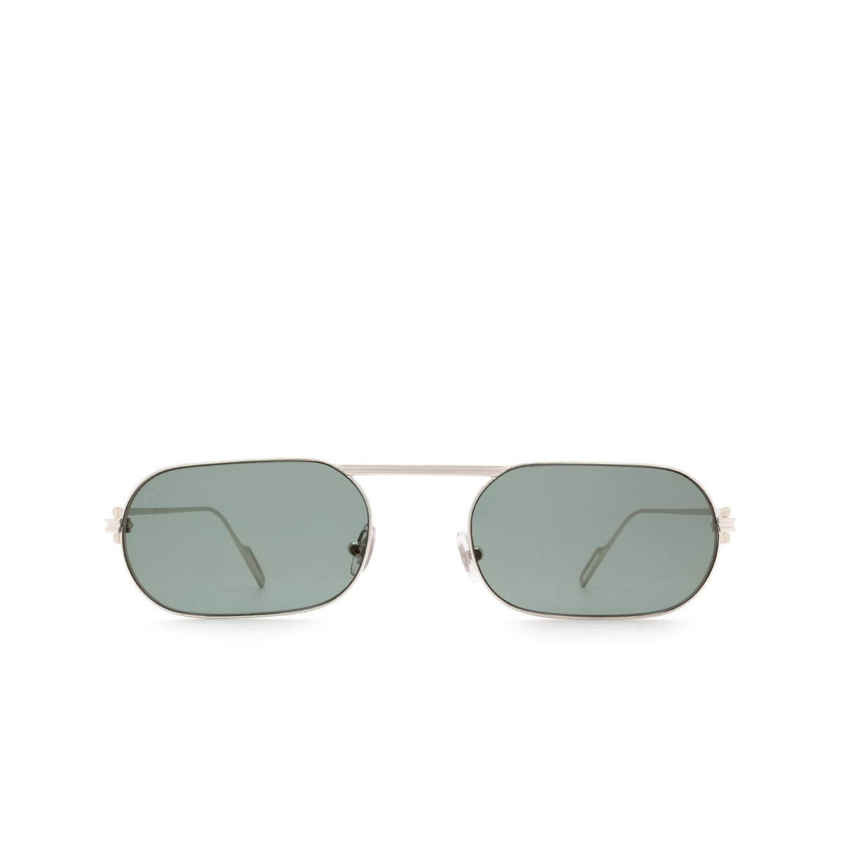 Cartier® Rectangle Sunglasses: CT0112S color Silver 004 - front view.