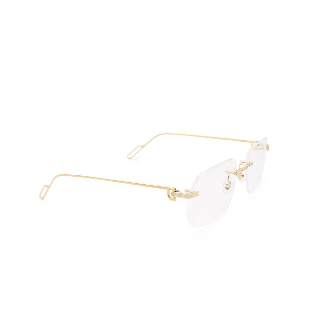 Cartier® Rectangle Eyeglasses: CT0113O color Shiny Gold 003.