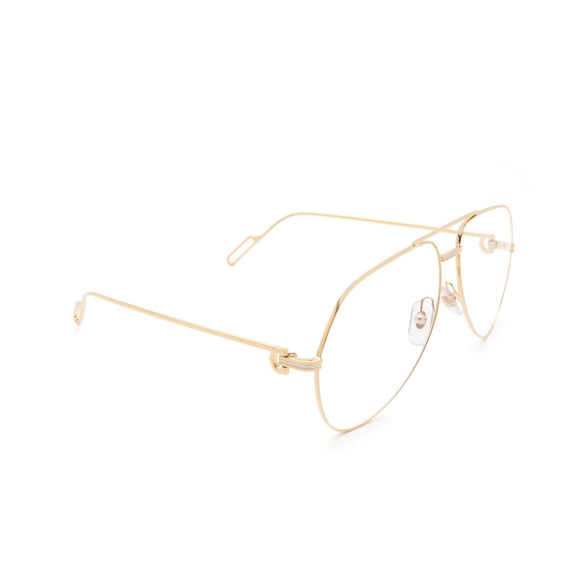 Cartier® Aviator Eyeglasses: CT0116O color Shiny Gold 003.