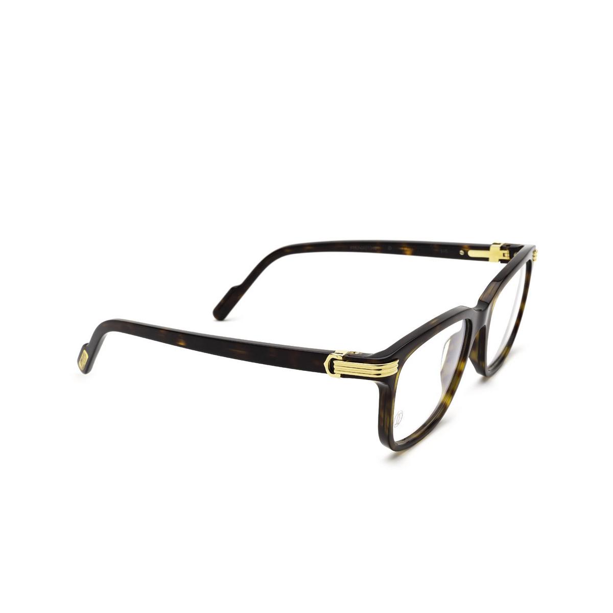 Cartier® Rectangle Eyeglasses: CT0161O color Havana 002 - three-quarters view.