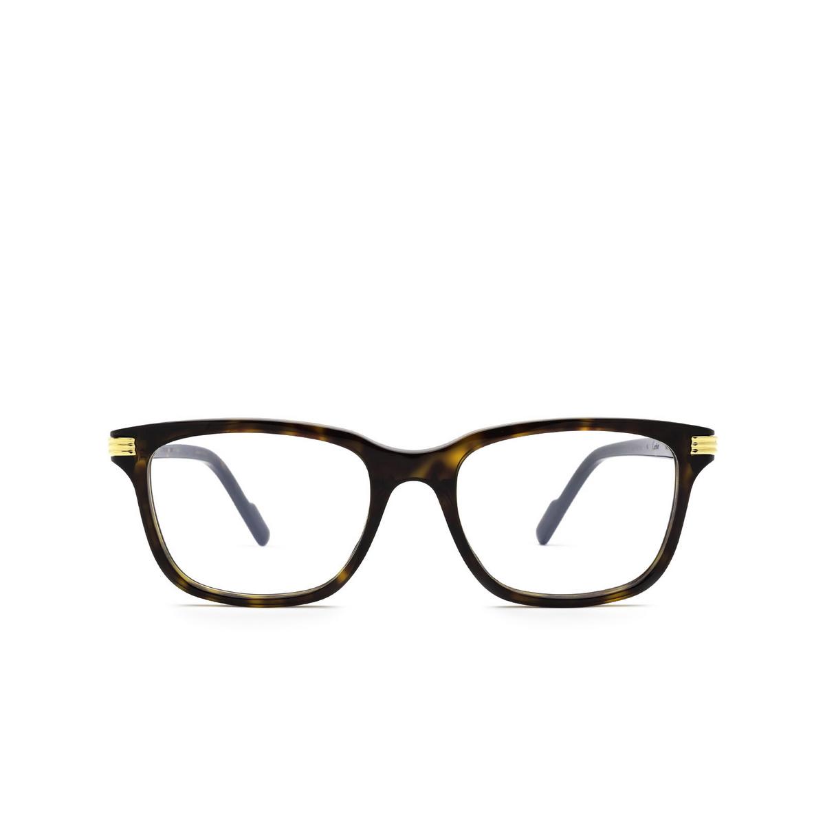 Cartier® Rectangle Eyeglasses: CT0161O color Havana 002 - front view.