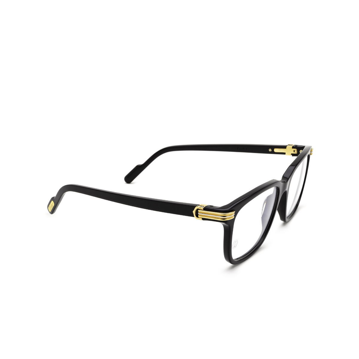 Cartier® Rectangle Eyeglasses: CT0161O color Black 005 - three-quarters view.