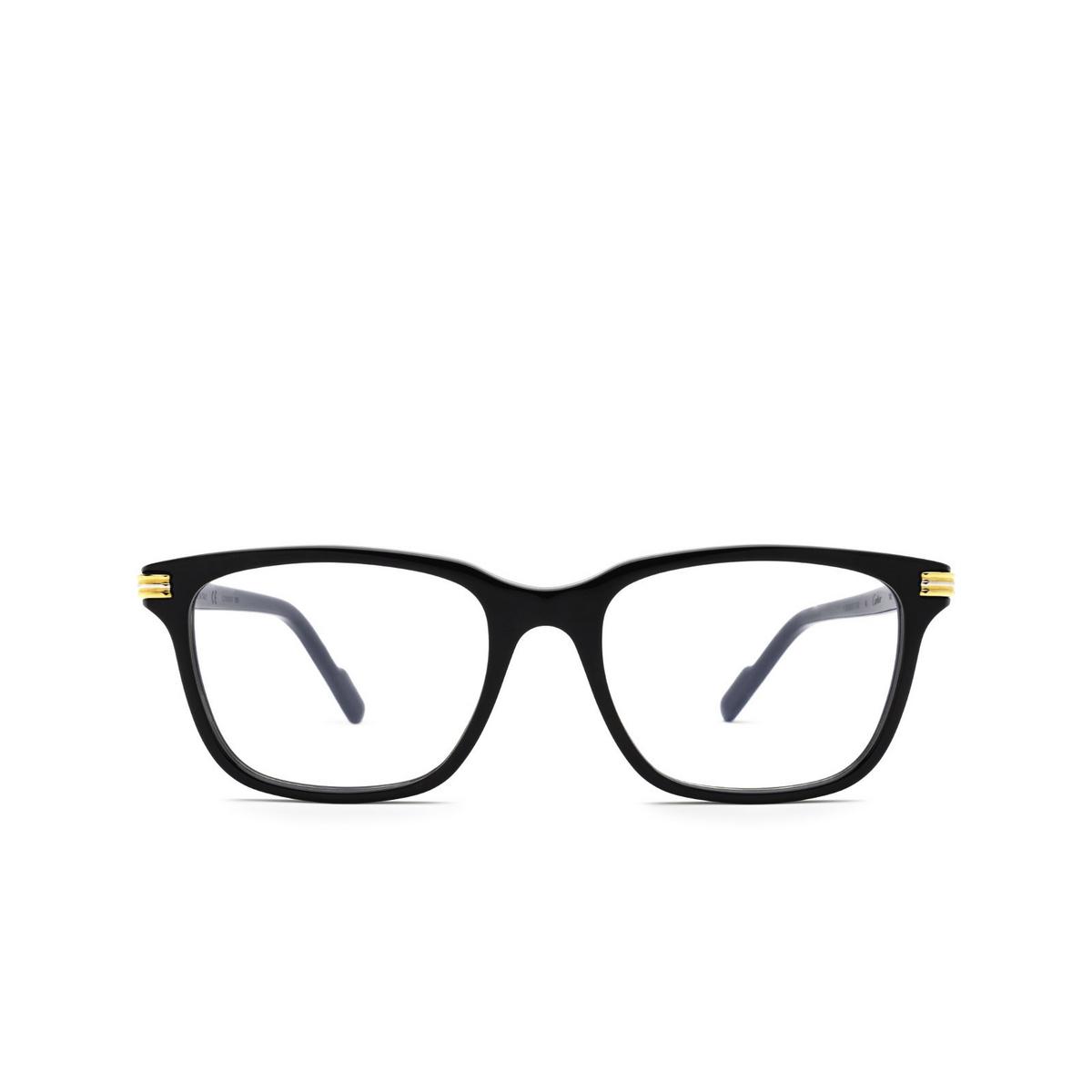 Cartier® Rectangle Eyeglasses: CT0161O color Black 005 - front view.