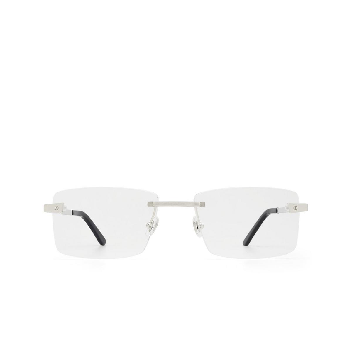 Cartier® Rectangle Eyeglasses: CT0167O color Silver 002.