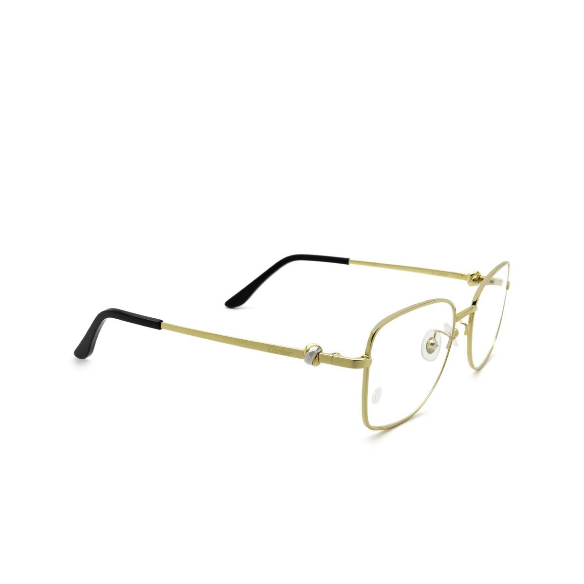 Cartier® Irregular Eyeglasses: CT0223O color Gold 001 - three-quarters view.