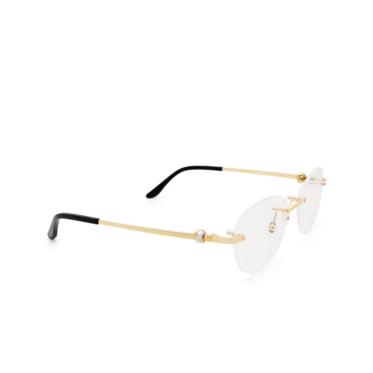 Cartier® Oval Eyeglasses: CT0224O color Gold 001 - three-quarters view.