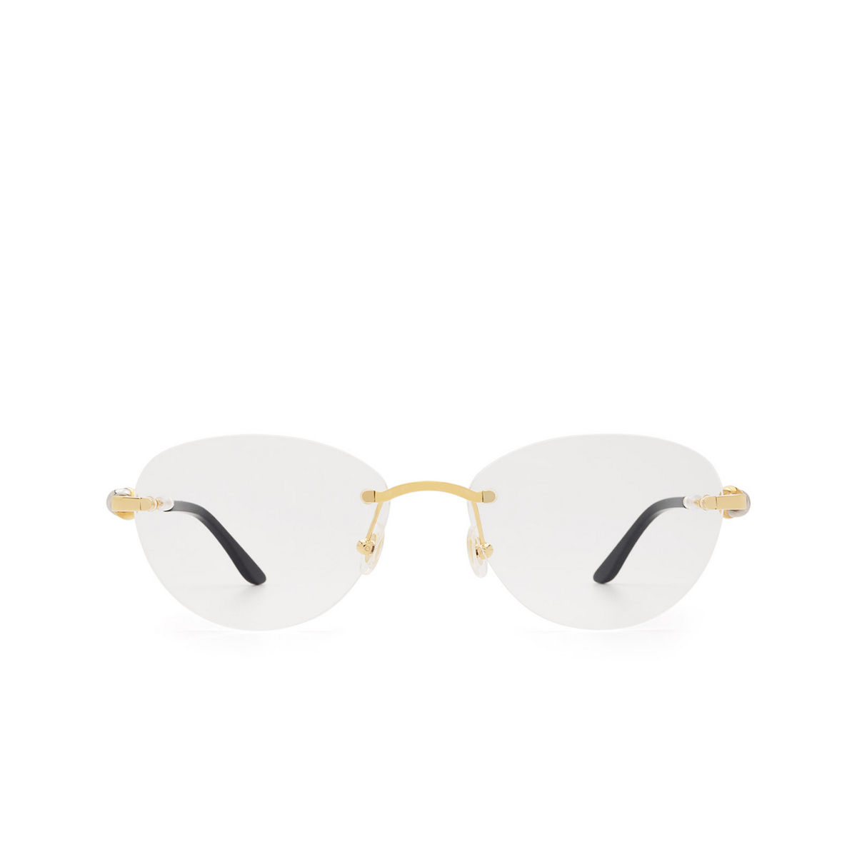 Cartier® Oval Eyeglasses: CT0224O color Gold 001 - front view.