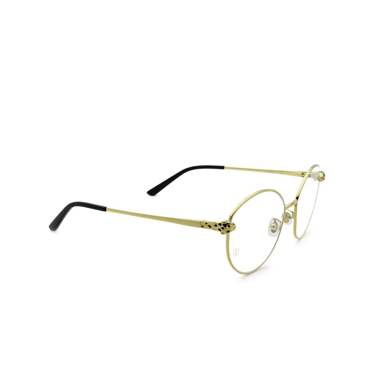 Cartier® Round Eyeglasses: CT0234O color Gold 001 - three-quarters view.