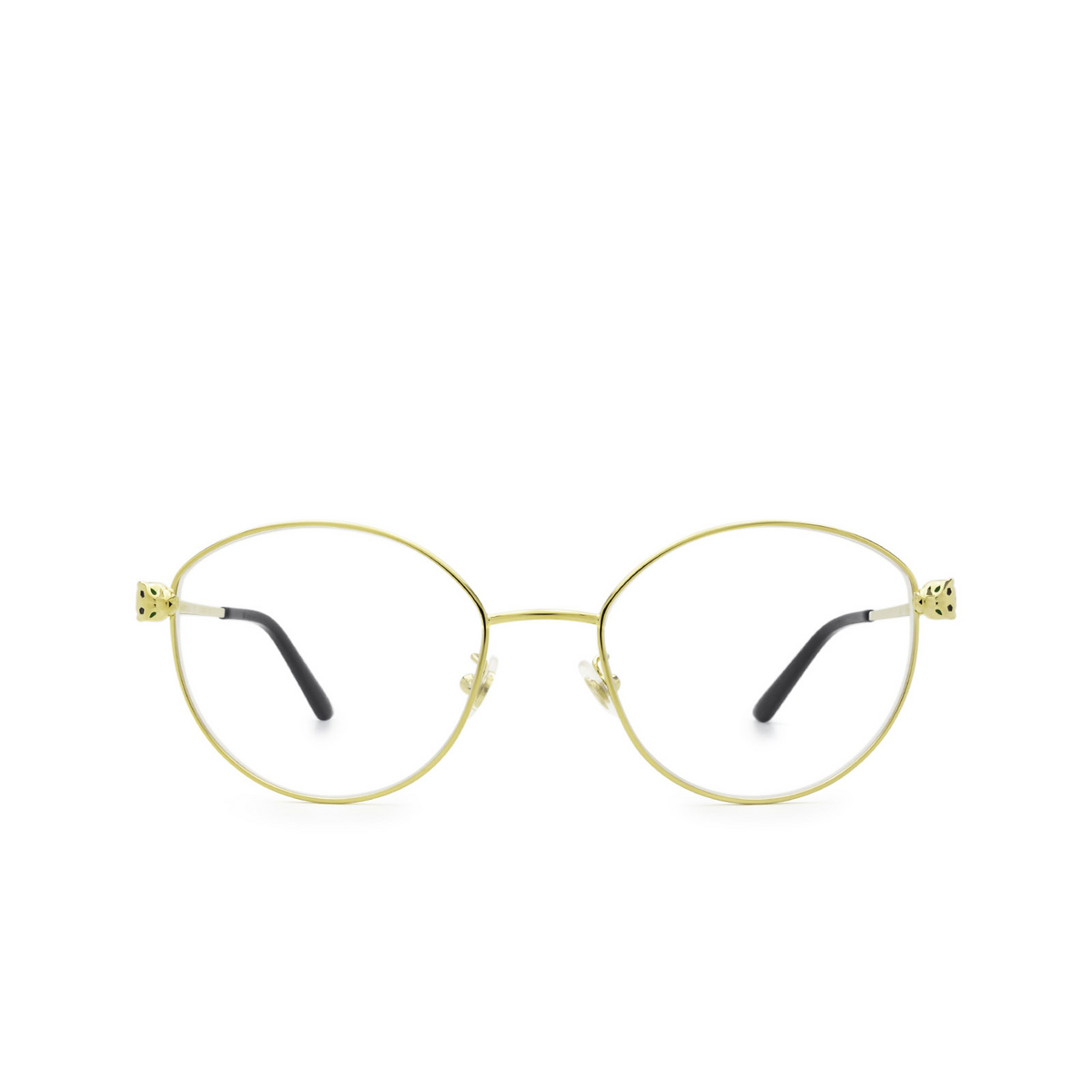 Cartier® Round Eyeglasses: CT0234O color Gold 001 - front view.