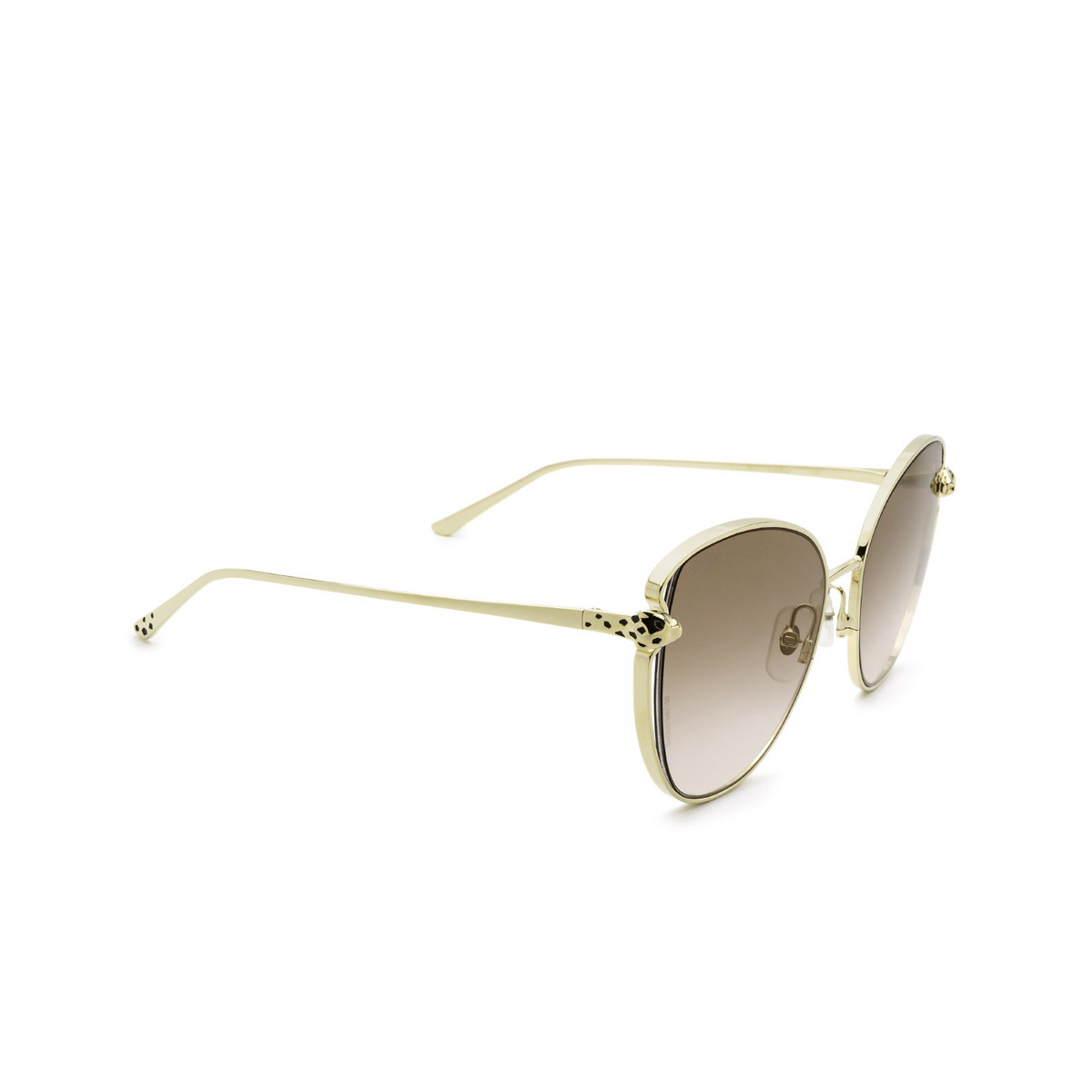 Cartier® Butterfly Sunglasses: CT0236S color Gold 002 - three-quarters view.