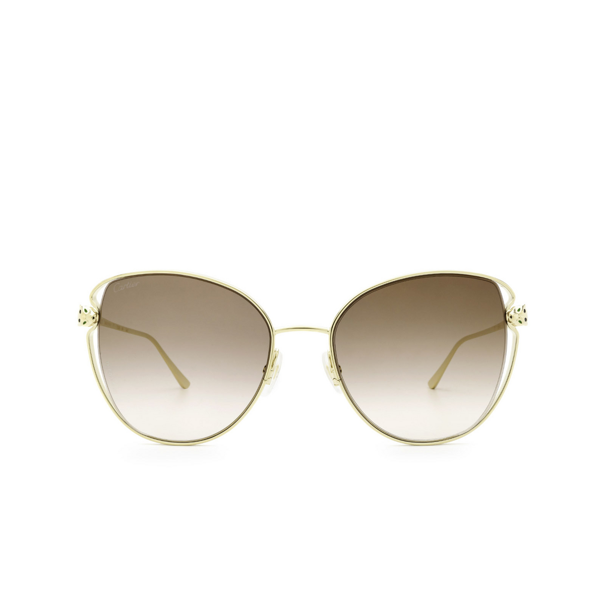 Cartier® Butterfly Sunglasses: CT0236S color Gold 002 - front view.