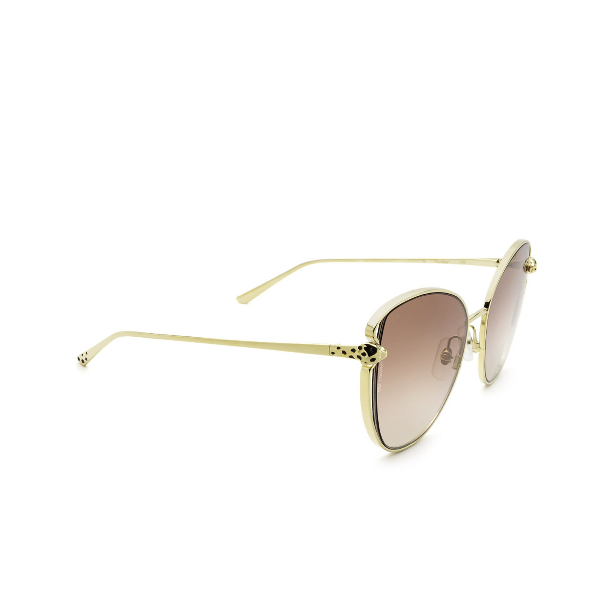 Cartier® Butterfly Sunglasses: CT0236S color Gold 003 - three-quarters view.