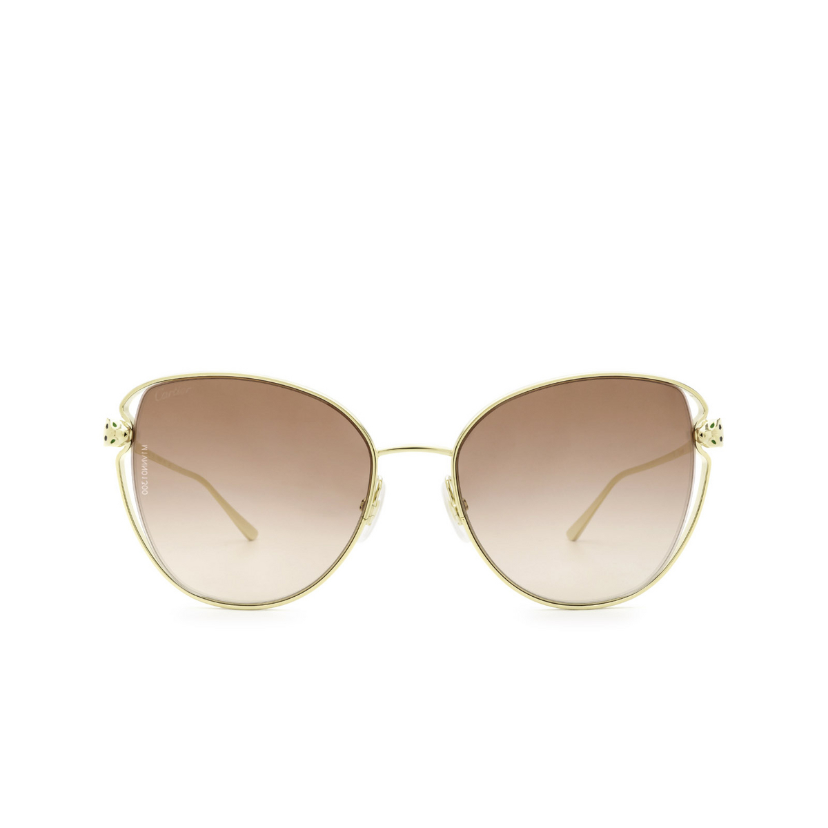 Cartier® Butterfly Sunglasses: CT0236S color Gold 003 - front view.