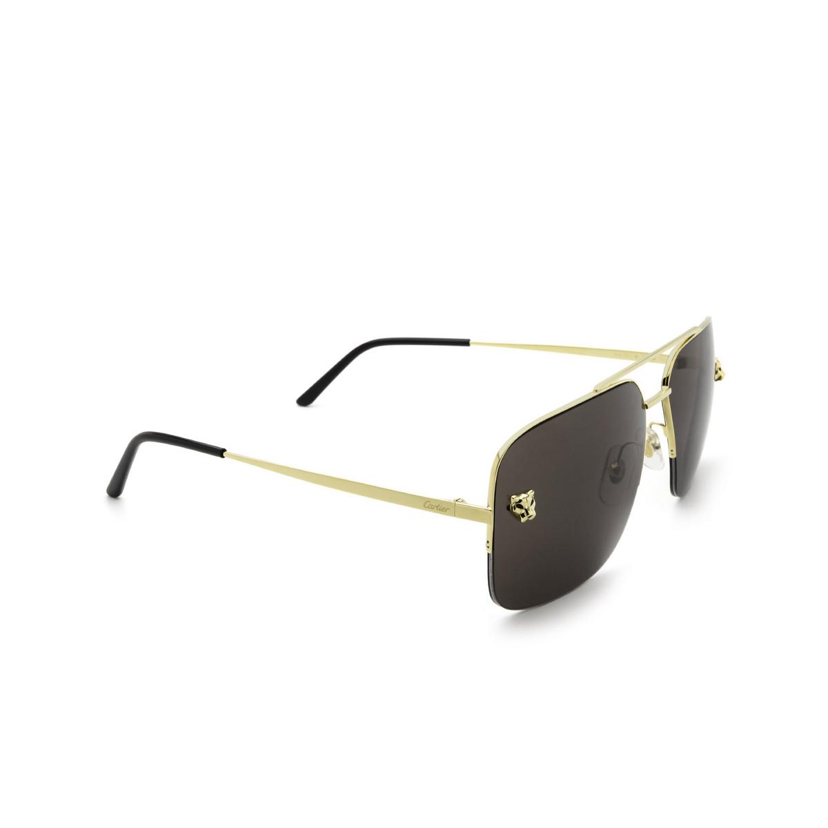 Cartier® Aviator Sunglasses: CT0244S color Gold 001 - three-quarters view.
