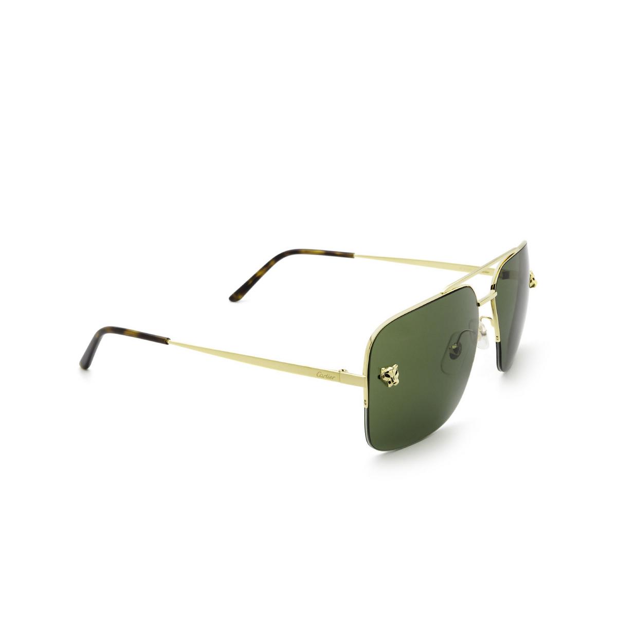 Cartier® Aviator Sunglasses: CT0244S color Gold 002 - three-quarters view.