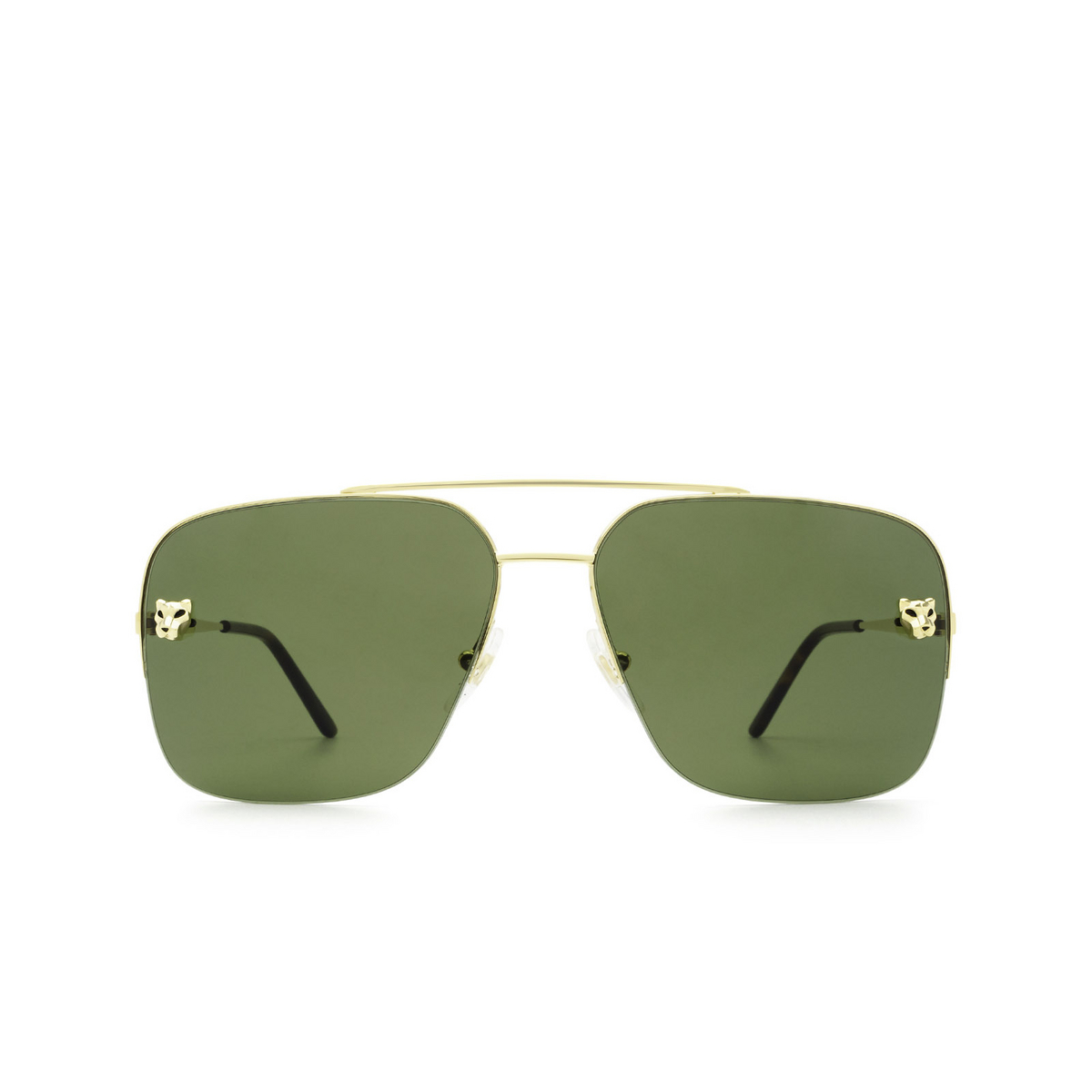 Cartier® Aviator Sunglasses: CT0244S color Gold 002 - front view.