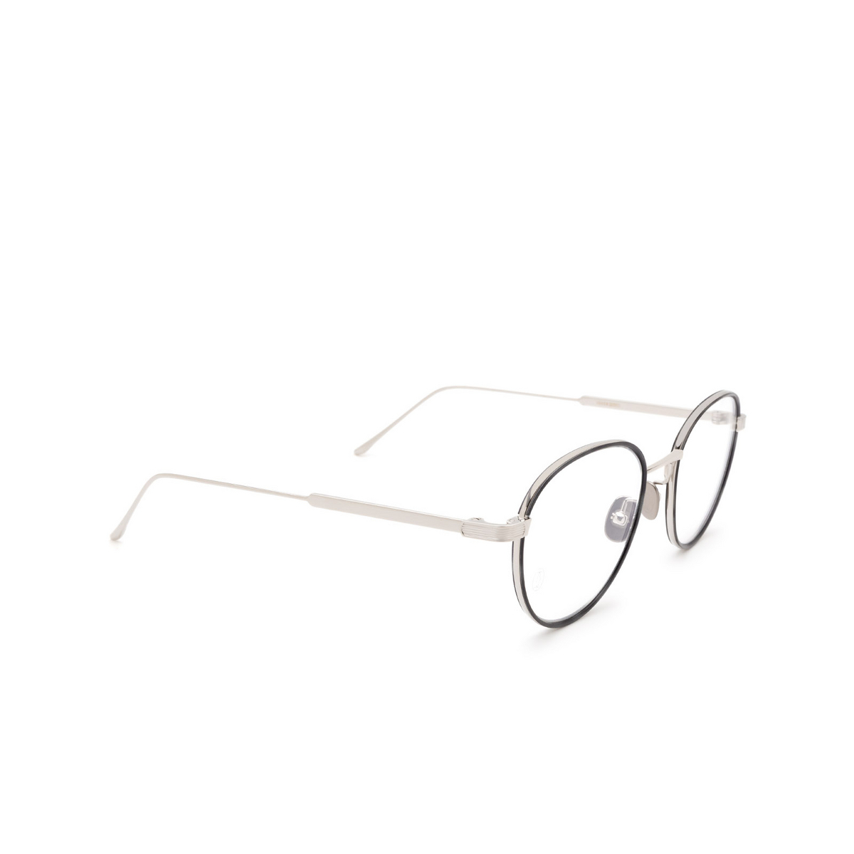 Cartier® Round Eyeglasses: CT0250O color Silver & Black 003.