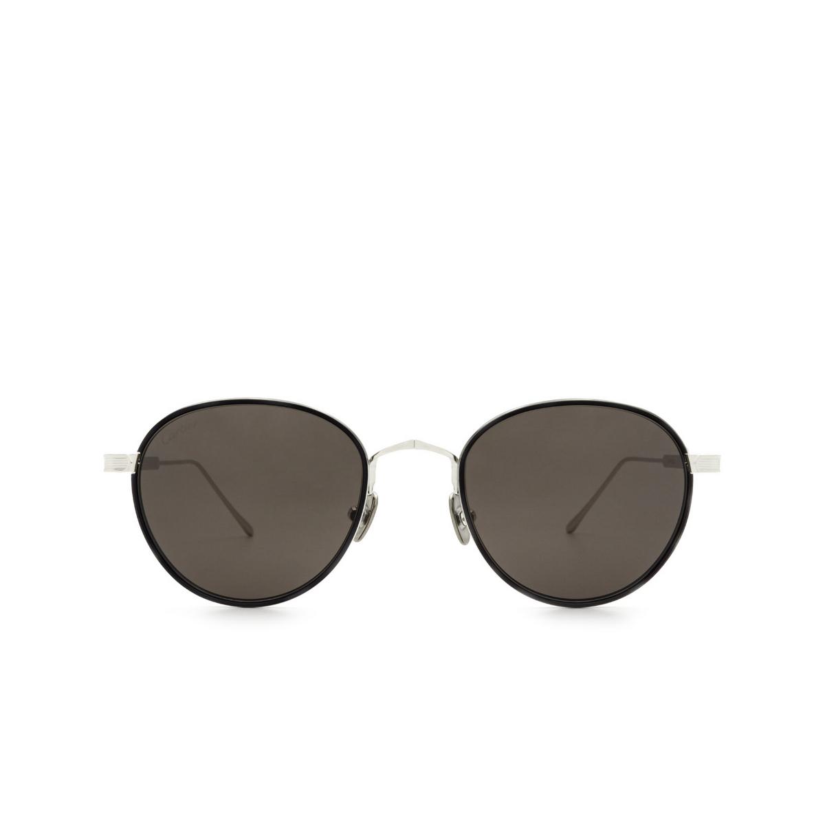 Cartier® Round Sunglasses: CT0250S color Grey Havana & Silver 003.