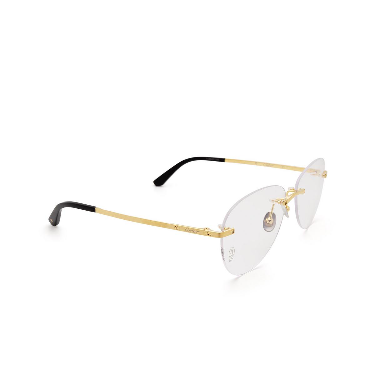 Cartier® Aviator Eyeglasses: CT0254O color Gold 001.