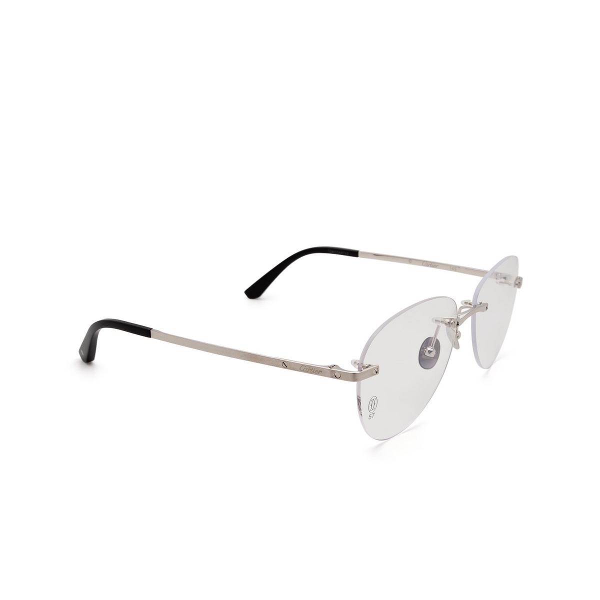 Cartier® Aviator Eyeglasses: CT0254O color Silver 002 - three-quarters view.