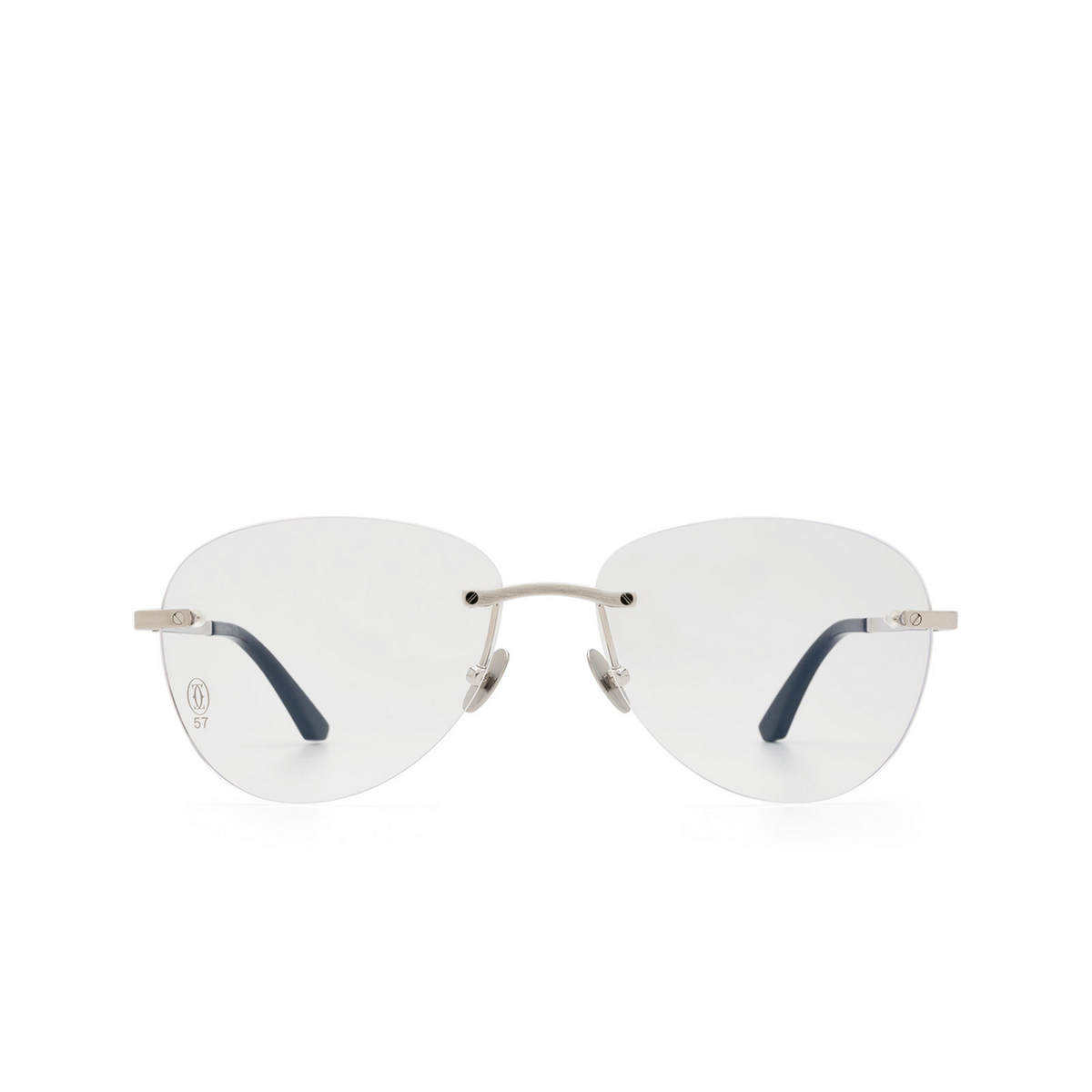 Cartier® Aviator Eyeglasses: CT0254O color Silver 002 - front view.