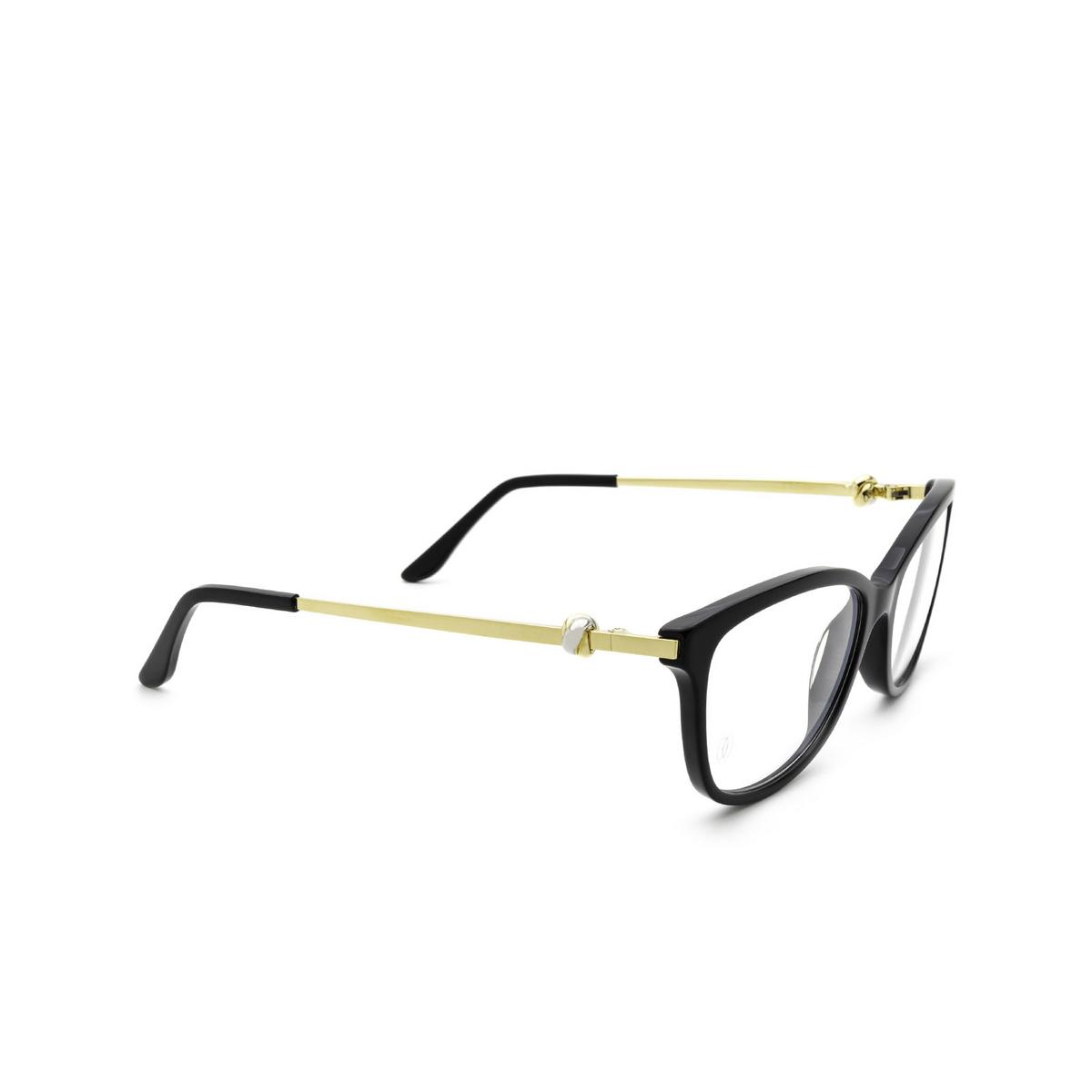 Cartier® Cat-eye Eyeglasses: CT0257O color Black 001 - three-quarters view.