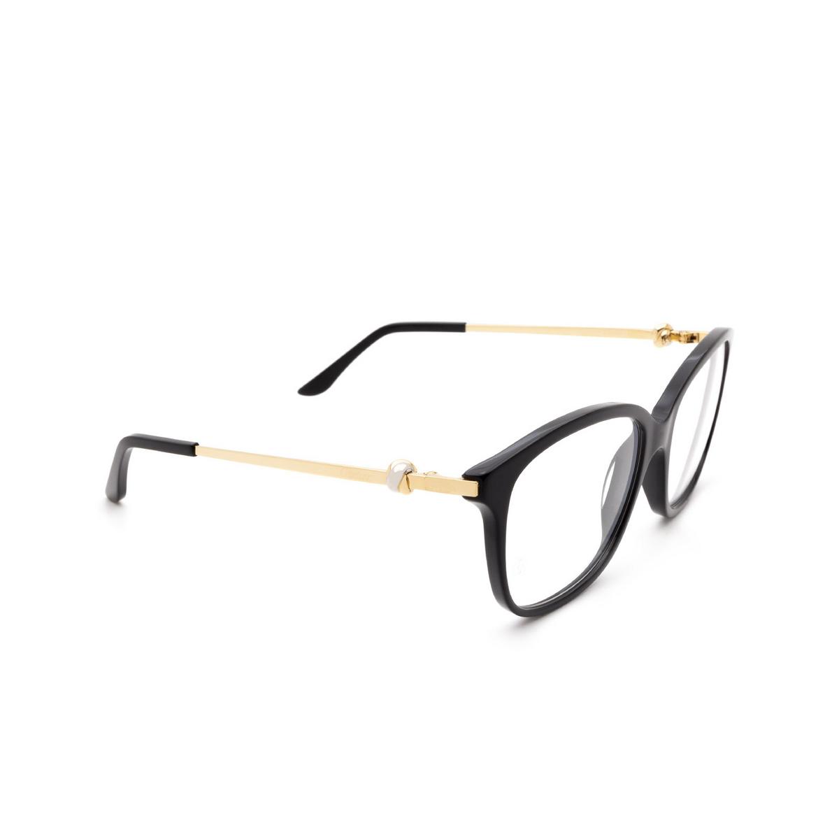 Cartier® Rectangle Eyeglasses: CT0258O color Black 001 - three-quarters view.