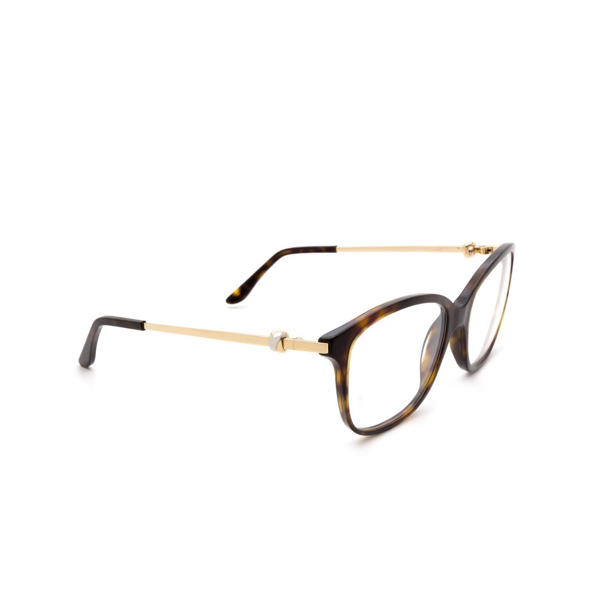 Cartier® Rectangle Eyeglasses: CT0258O color Havana 002.