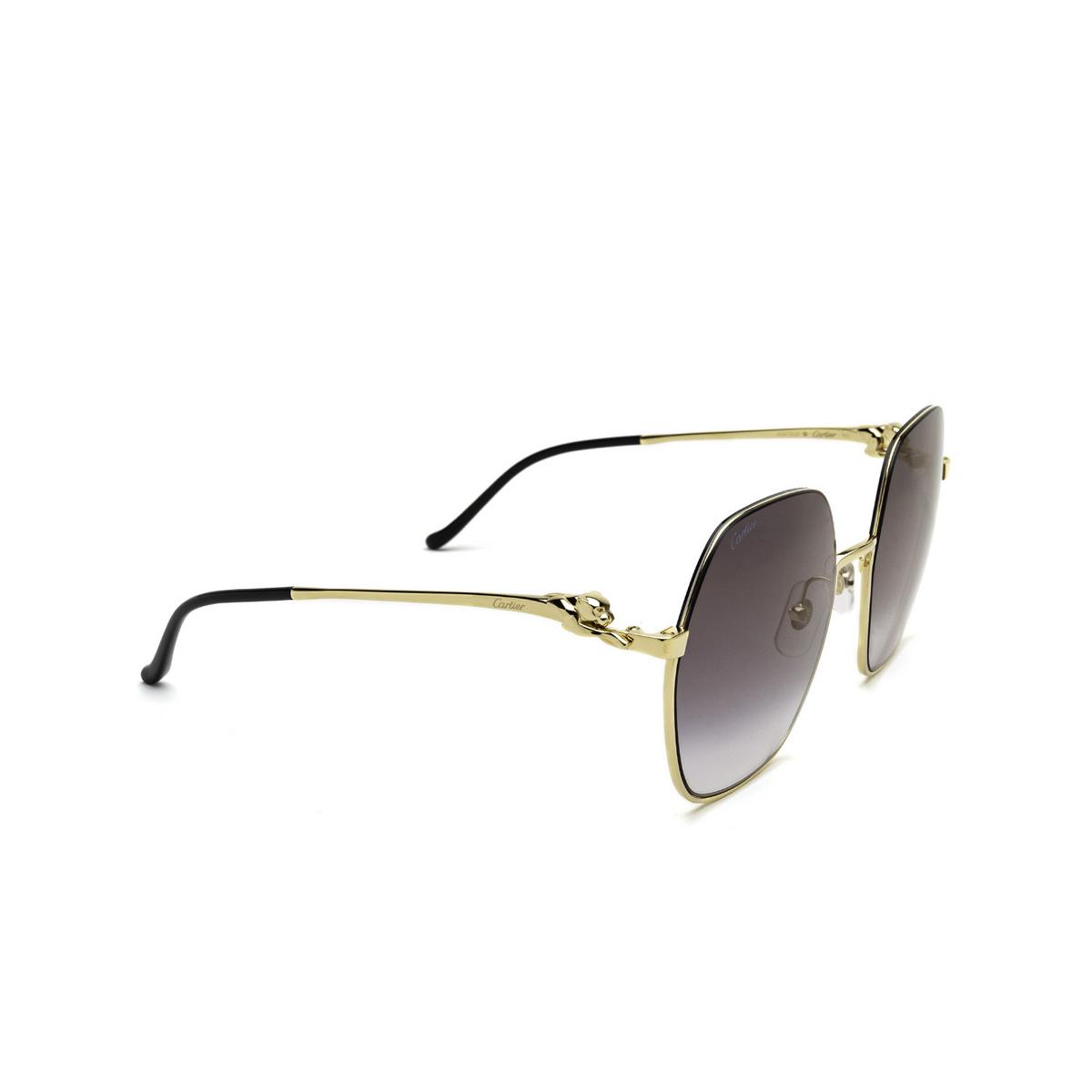 Cartier® Irregular Sunglasses: CT0267S color Gold 001 - three-quarters view.