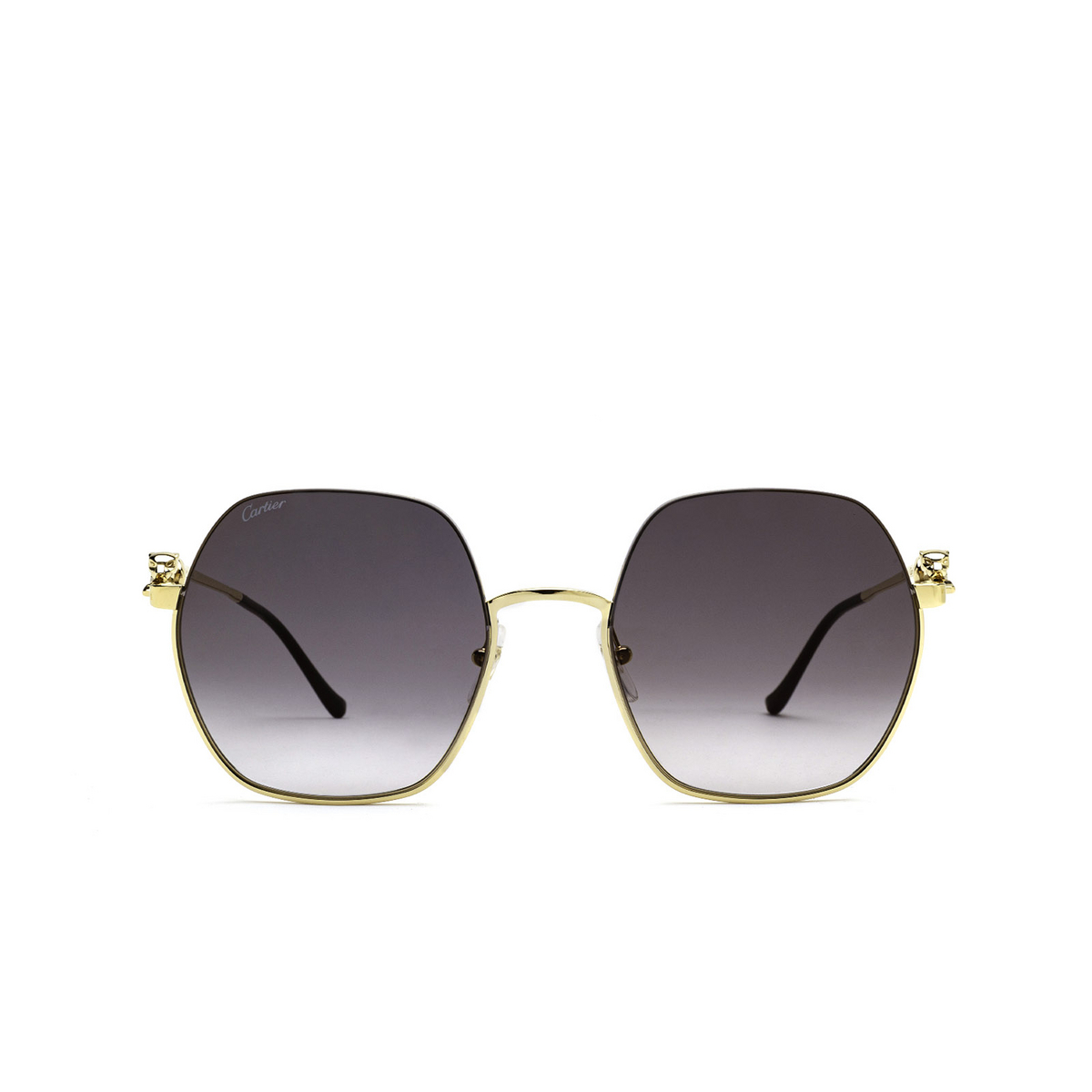 Cartier® Irregular Sunglasses: CT0267S color Gold 001 - front view.