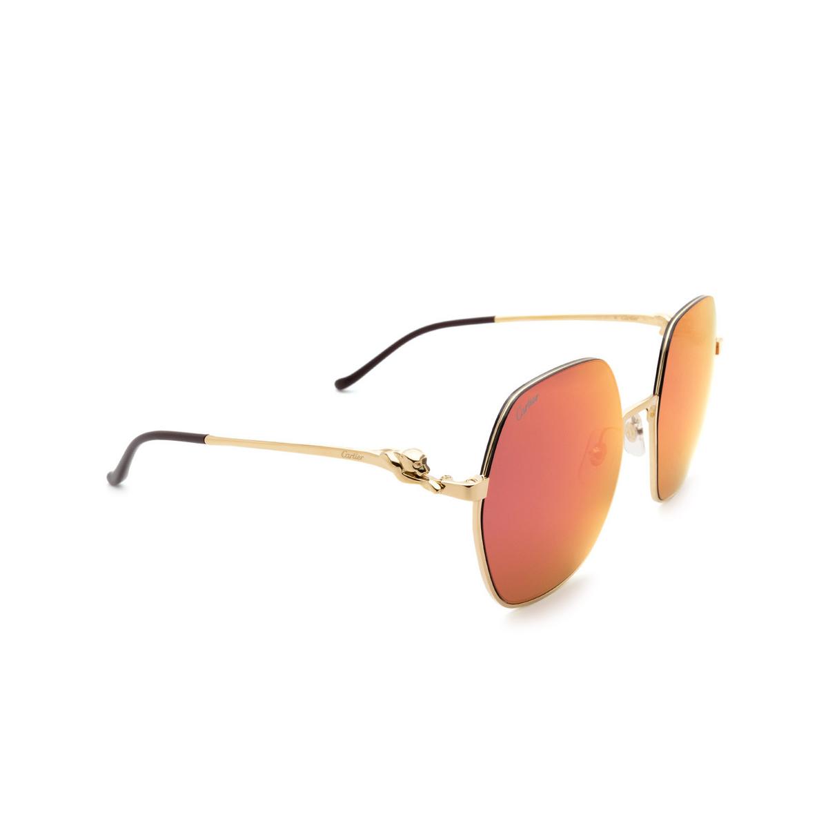 Cartier® Square Sunglasses: CT0267S color Gold 003.