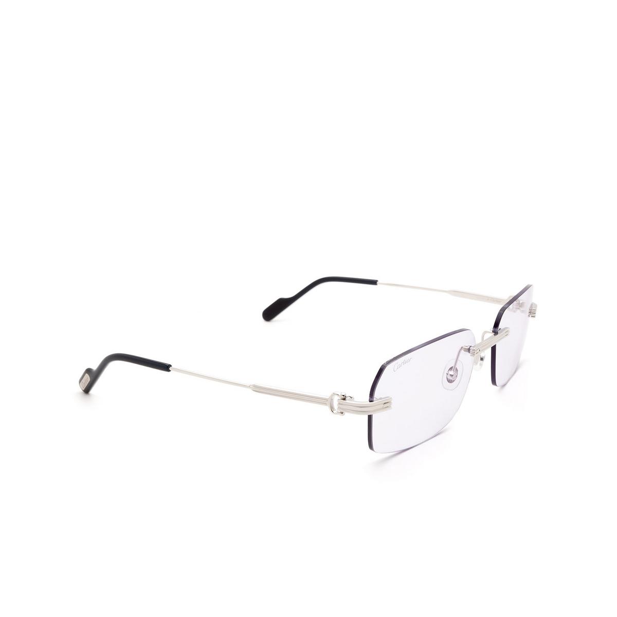 Cartier® Rectangle Sunglasses: CT0271S color Silver 005 - three-quarters view.