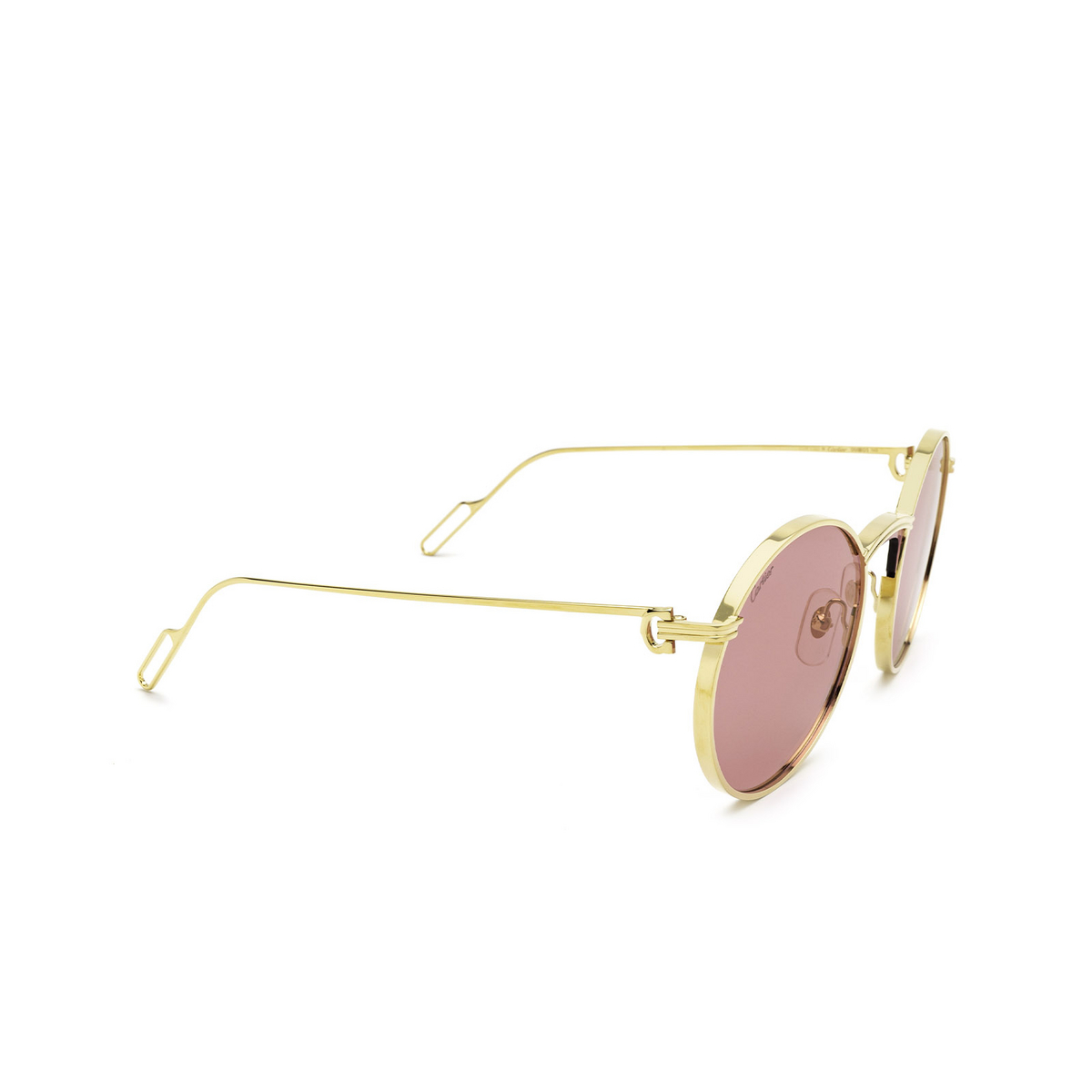 Cartier® Round Sunglasses: CT0274S color Gold 003 - three-quarters view.