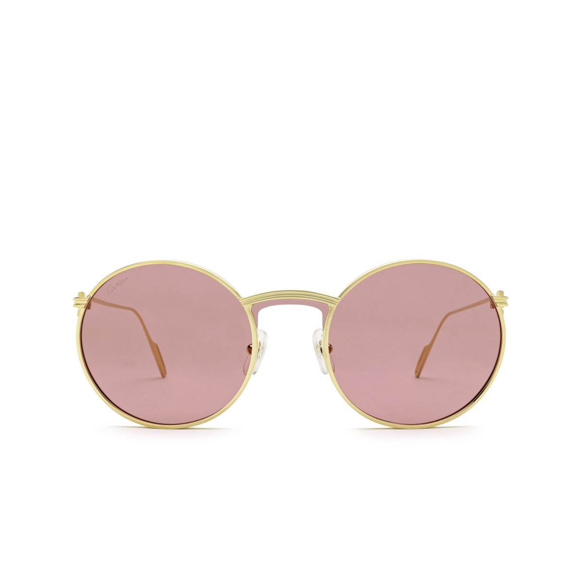 Cartier® Round Sunglasses: CT0274S color Gold 003 - front view.