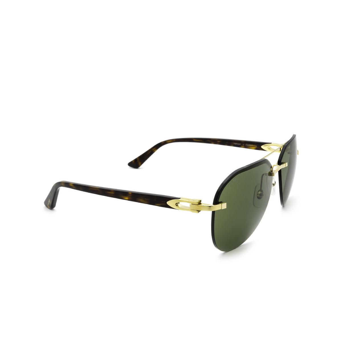 Cartier® Aviator Sunglasses: CT0275S color Gold 002 - three-quarters view.