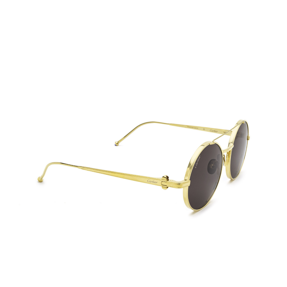 Cartier® Round Sunglasses: CT0279S color Gold 001 - three-quarters view.