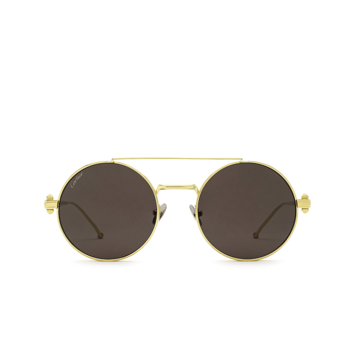 Cartier® Round Sunglasses: CT0279S color Gold 001 - front view.