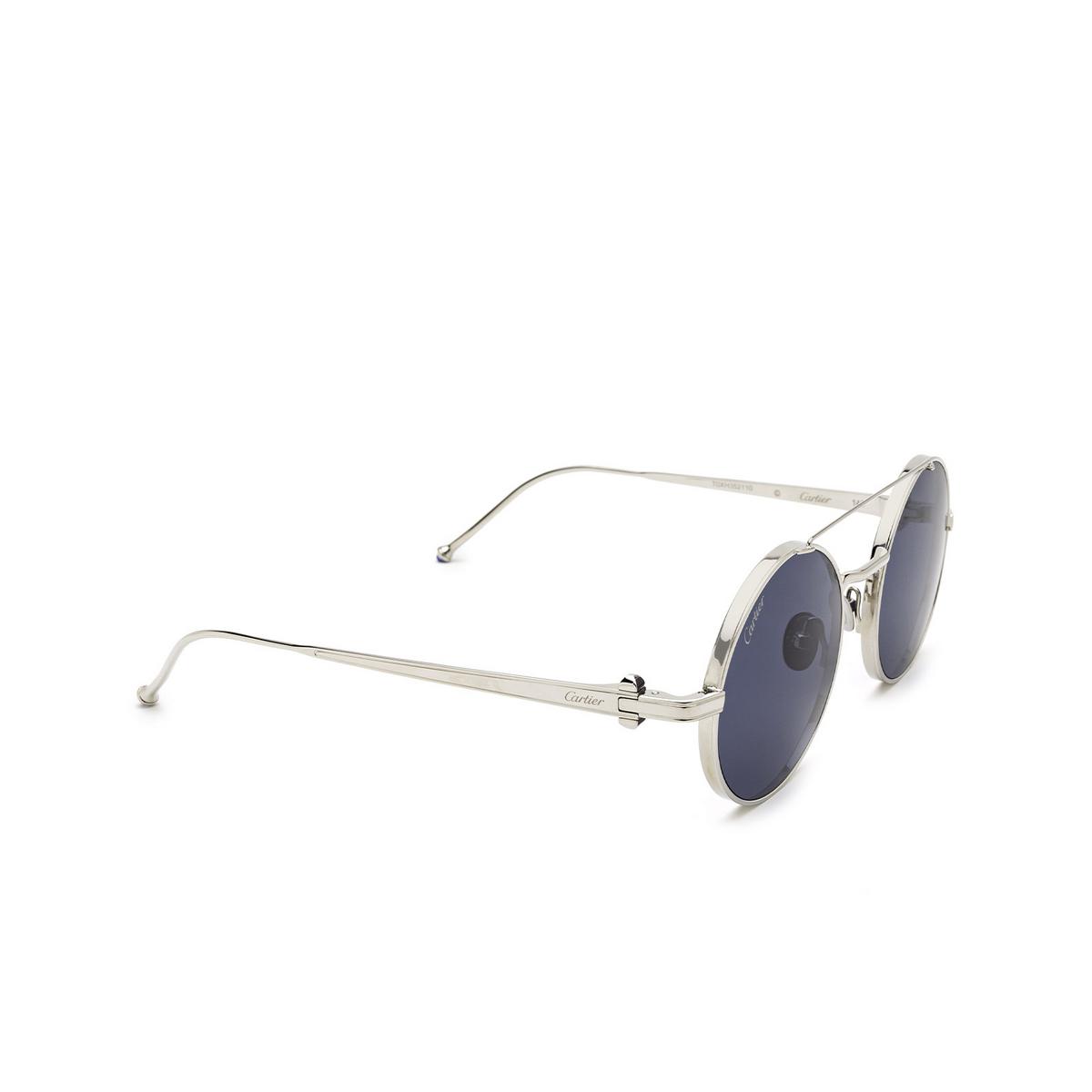 Cartier® Round Sunglasses: CT0279S color Silver 002 - three-quarters view.