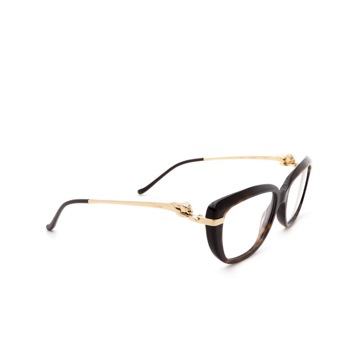 Cartier® Rectangle Eyeglasses: CT0282O color Dark Havana 002.