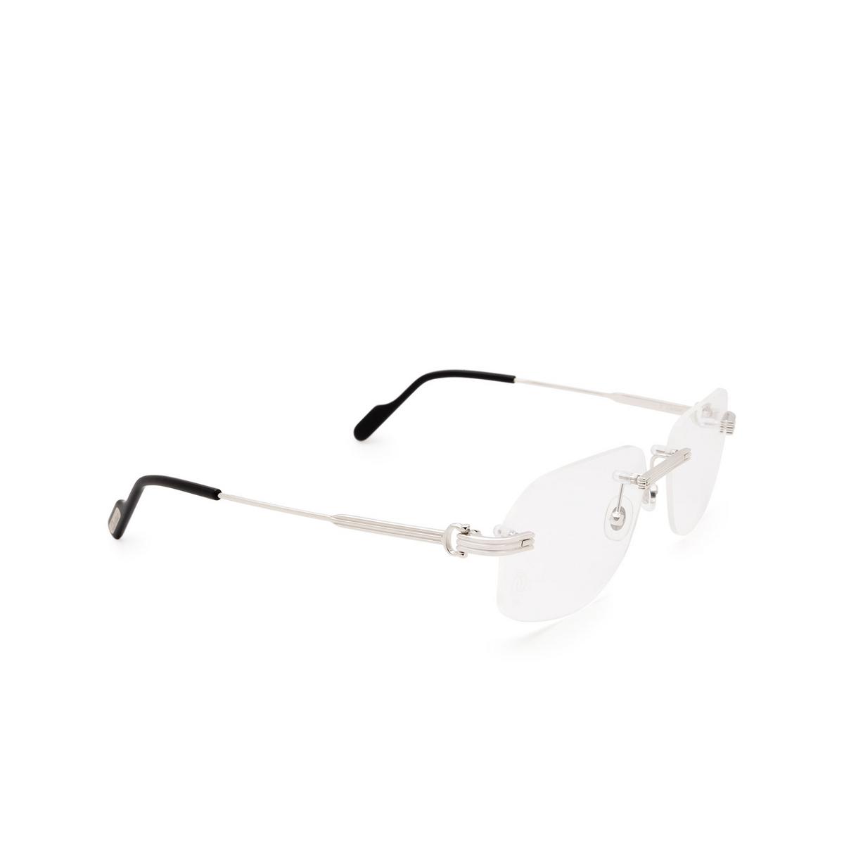 Cartier® Rectangle Eyeglasses: CT0284O color Silver 001.