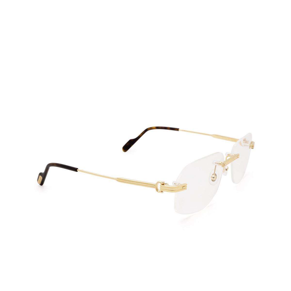 Cartier® Rectangle Eyeglasses: CT0284O color Gold 002 - three-quarters view.