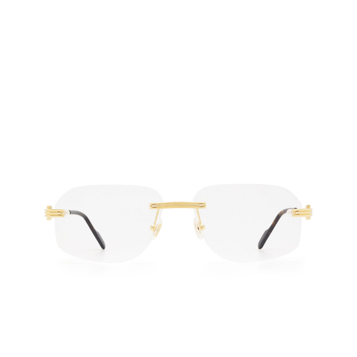 Cartier® Rectangle Eyeglasses: CT0284O color Gold 002 - front view.