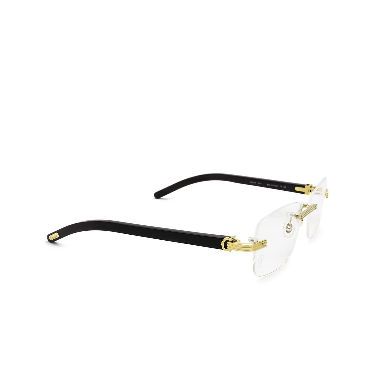 Cartier® Rectangle Eyeglasses: CT0286O color Black 001 - three-quarters view.