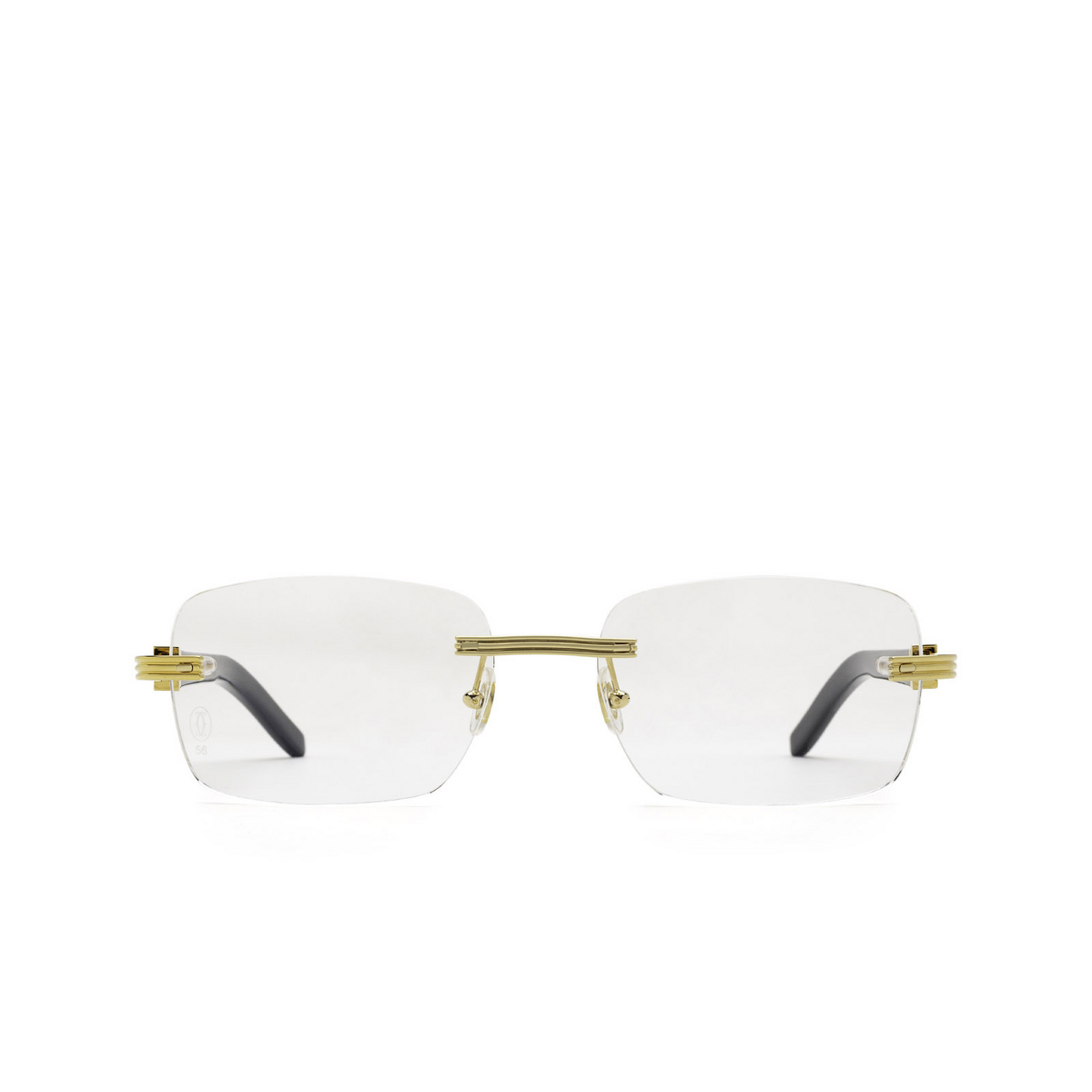 Cartier® Rectangle Eyeglasses: CT0286O color Black 001 - front view.