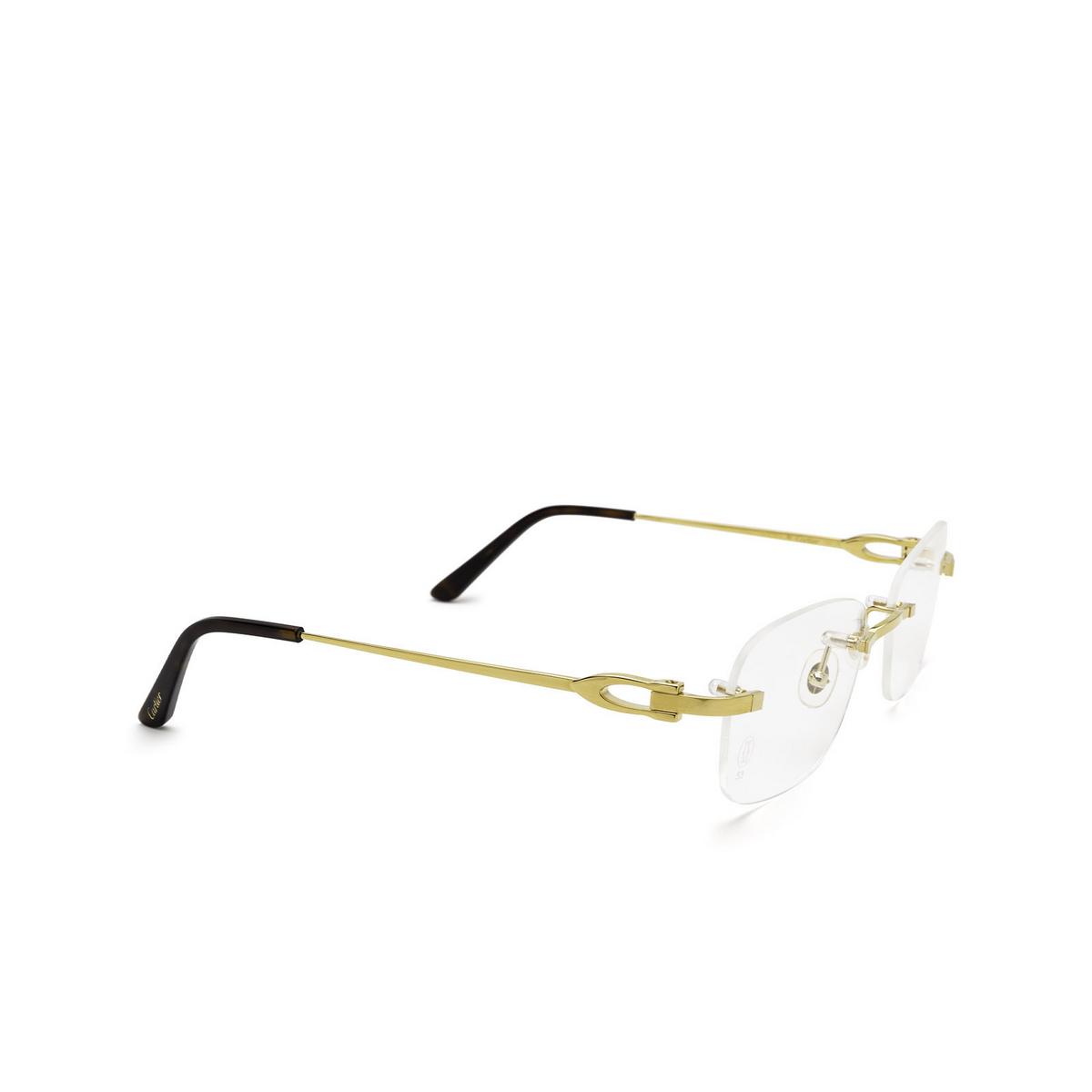 Cartier® Rectangle Eyeglasses: CT0290O color Gold 001 - three-quarters view.