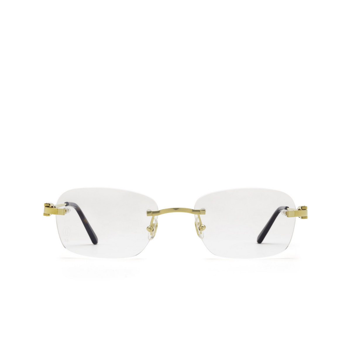 Cartier® Rectangle Eyeglasses: CT0290O color Gold 001 - front view.