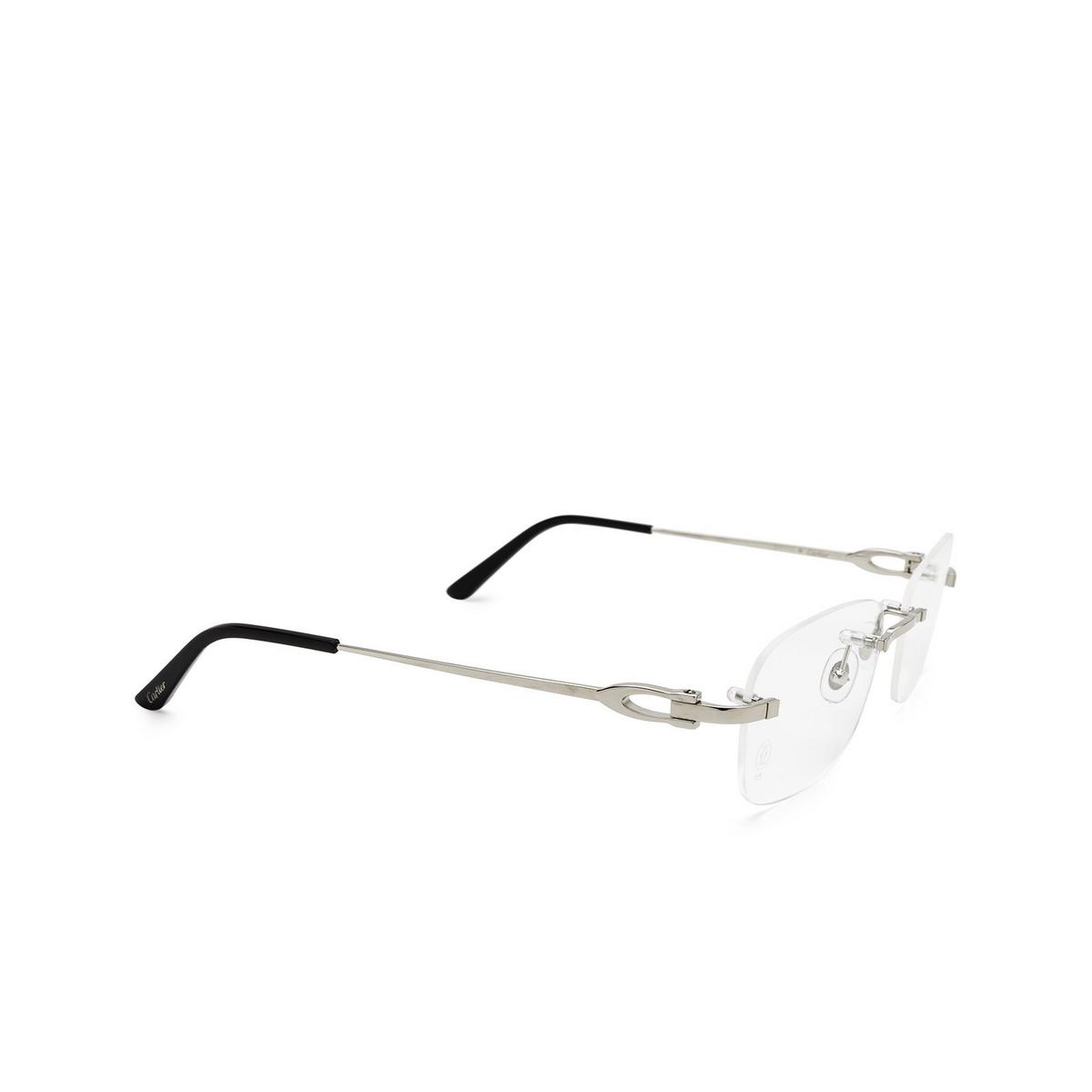 Cartier® Rectangle Eyeglasses: CT0290O color Silver 004 - three-quarters view.